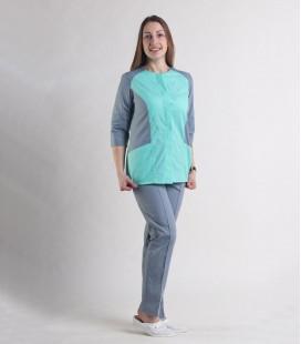 Женский медицинский костюм 0064-5 Эрика яблоко-серый