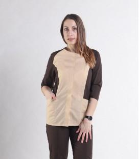 Женский медицинский костюм 0064-7 Эрика бежевый-коричневый