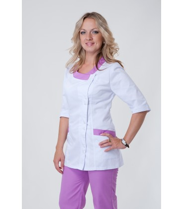 Медицинский костюм 5217 лаванда-белый