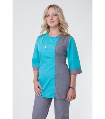 Медицинский костюм 5225 серый-бирюза
