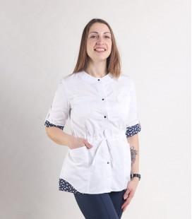 Женская медицинская куртка 1365-3 Ангелина коттон белый с синим