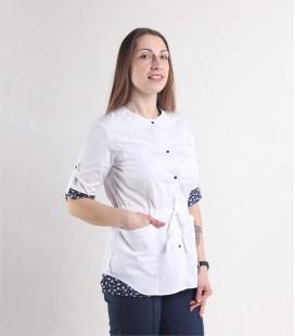 Женская медицинская куртка 1362-1 Ангелина батист белый-синий