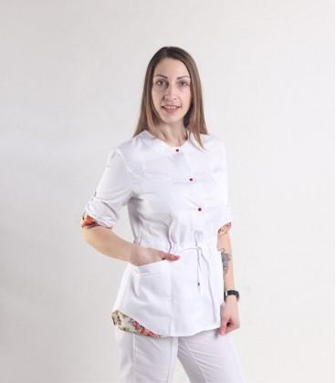 Женская медицинская куртка 1365-1 Ангелина коттон цветы