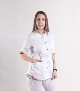 Женская медицинская куртка 1362-6 Ангелина батист цветы
