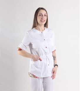 Женская медицинская куртка 1362-3 Ангелина батист цветы