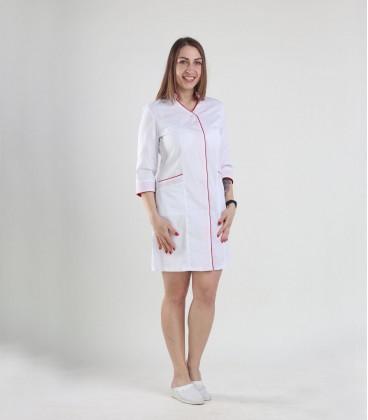 Медицинский халат 0049-1 Амина с красным