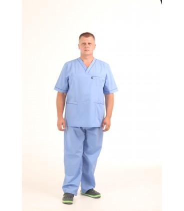 Мужской медицинский костюм 1343-1 Герман голубой