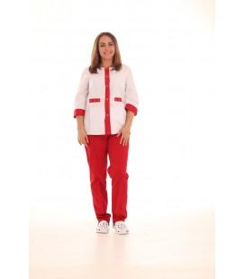 Медицинский костюм 0083-2 Валерия коттон красный
