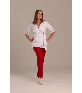 Медицинский костюм 7003 Рамина коттон белый с красным