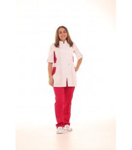 Женский медицинский костюм 1213-3 Леся белый с красным