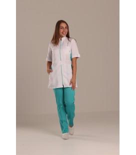 медицинский костюм 1213-5 Леся белый - яблуко