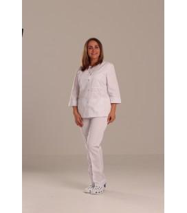 Медицинский костюм 0083-5 Валерия коттон белый