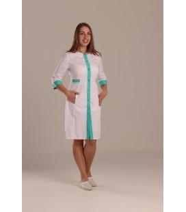 Медицинский халат Валерия 0077 - 3 белый коттон