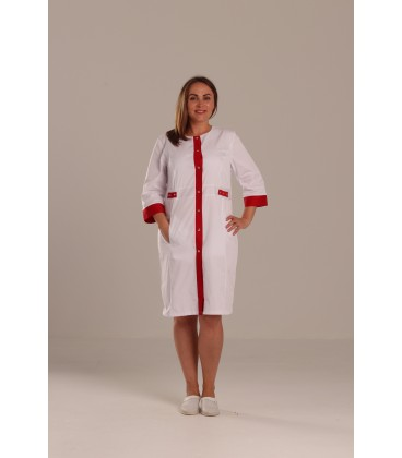 Медицинский халат Валерия 0077 - 4 белый коттон