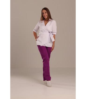 Медицинский костюм 7006 Рамина коттон белый - виноград