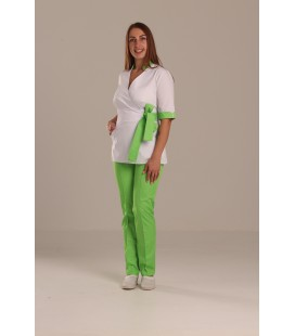 Медицинский костюм 7007 Рамина коттон белый - лимонный